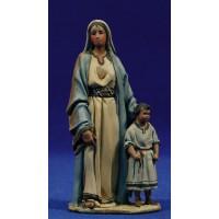 Pastora con niño 10 cm barro pintado De Francesco