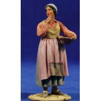 Pastora popular con jarra 10 cm barro pintado De Francesco