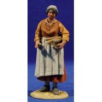 Pastora popular con leña 10 cm barro pintado De Francesco