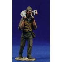 Pastor popular corderito 10 cm barro pintado De Francesco