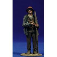 Pastor popular bastón 10 cm barro pintado De Francesco