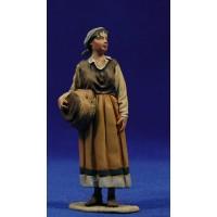 Pastora popular con cesto 10 cm barro pintado De Francesco