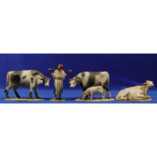 Pastor con vacas 10 cm barro pintado De Francesco