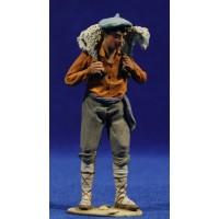 Pastor vasco con cordero espalda 10 cm barro pintado De Francesco