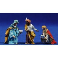 Reyes adorando 4 cm barro pintado De Francesco