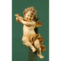 Ángel con flauta colgar 15 cm madera pintada