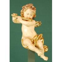 Ángel con flauta colgar 20 cm madera pintada