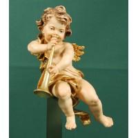 Ángel con trombón colgar 20 cm madera pintada