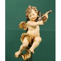 Ángel con violín colgar 20 cm madera pintada