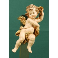 Ángel con cinta colgar 15 cm madera pintada