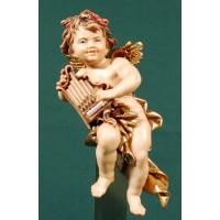 Ángel con organo colgar 15 cm madera pintada