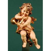Ángel con corno colgar 15 cm madera pintada