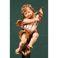 Ángel con arpa colgar 15 cm madera pintada