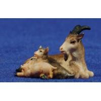 Cabra con dos cabritos estirada 10 cm madera