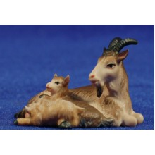 Cabra con dos cabritos estirada 12 cm madera