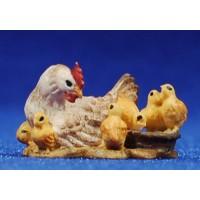 Gallina con pollitos 8 cm madera pintada