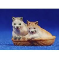 Gatos en cesto 8 cm madera pintada a mano