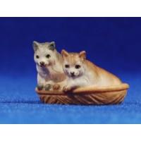 Gatos en cesto 10 cm madera pintada a mano