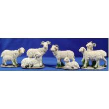 Grupo ocho corderos 25 cm resina