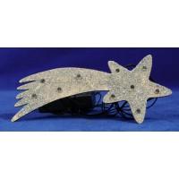 Estrella plata nacimiento iluminada 17 cm plástico
