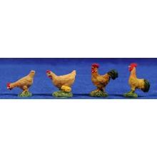 Grupo cuatro gallinas 8 cm resina