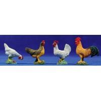 Grupo cuatro gallinas 12 cm resina
