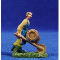 Shepherd  with cart 6 cm resin