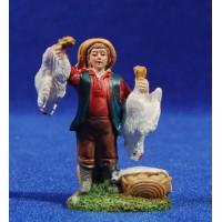 Pastor con gallinas 6 cm resina