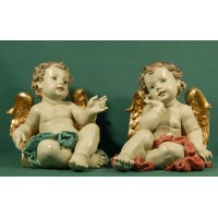 Dos ángeles sentados 33 cm resina