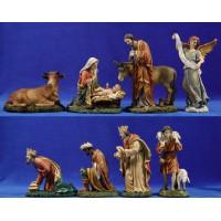 Nacimiento con reyes y pastor 20 cm resina