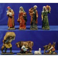 Grupo 7 pastores y cordero 26 cm resina