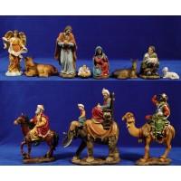 Nacimiento con reyes camello caballo, elefante y pastor 18 cm resina