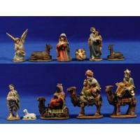 Nacimiento con reyes a camello y pastor 6,5 cm resina
