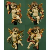 Cuatro ángeles florales colgar 16 cm resina