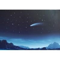 Fondo estrellas montañas y cometa  60x40 cm iluminado papel