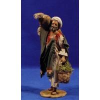 Pastor con saco y cesto 13 cm barro y tela pintada Angela Tripi