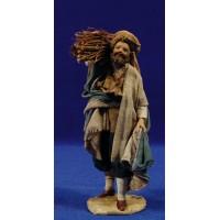 Pastor con leña 13 cm barro y tela pintada Angela Tripi