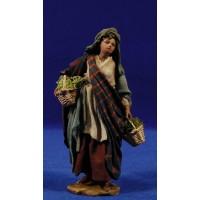 Pastora con cestos 13 cm barro y tela pintada Angela Tripi