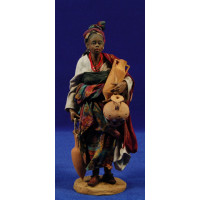 Pastora negra con jarras 18 cm barro y tela pintada Angela Tripi