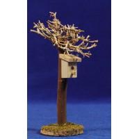 Árbol con nido 15 cm madera
