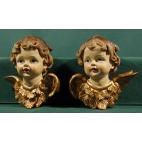 Dos bustos de ángel colgar 11 cm resina
