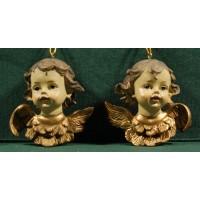 Dos bustos de ángel colgar 8 cm resina