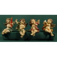 Cuatro ángeles sentados 12 cm resina