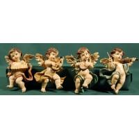 Cuatro ángeles músicos colgar 12 cm resina
