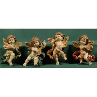 Cuatro ángeles músicos colgar  9 cm resina