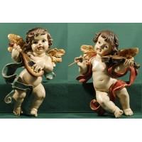 Dos ángeles músicos colgar 25 cm resina