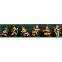 Seis ángeles músicos colgar 5 cm resina