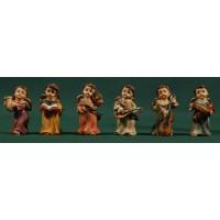 Seis ángeles músicos de pie 4,5 cm resina