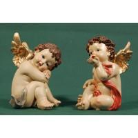Dos ángeles sentados 12  cm resina