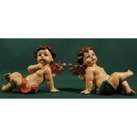 Dos ángeles sentados 10,5 cm resina